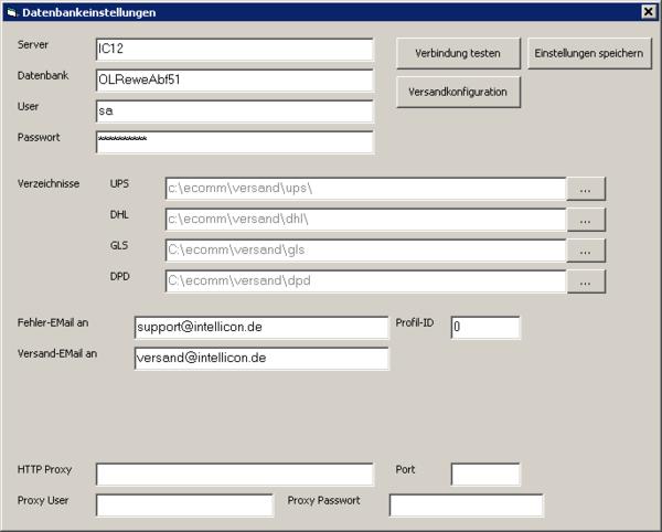 Konfiguration Versandmodul