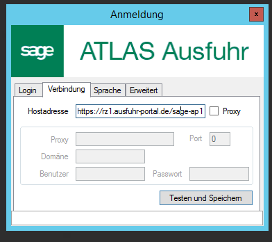 Sage AES - Verbindung einrichten