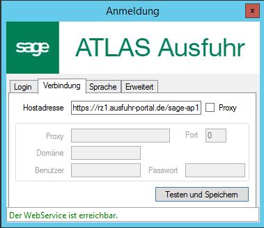 Sage AES Verbindung einrichten